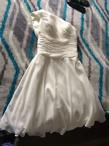 One shoulder ivory wedding or prom dress