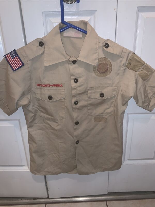 Boy Scout BSA UNIFORM SHIRT Youth Medium Short Sleeve Tan L59