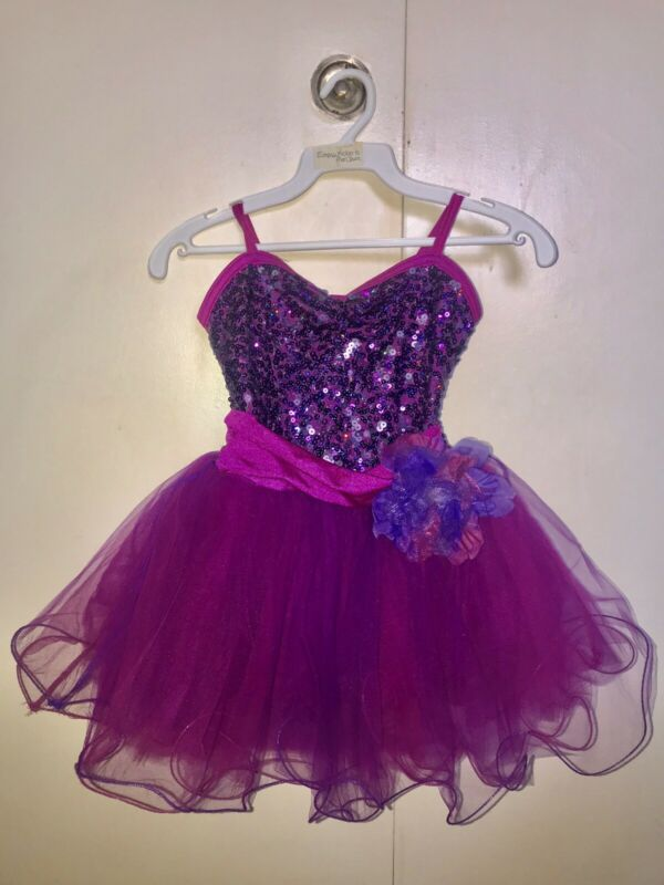 Costume Gallery Intermediate Girls Dance Costume Pink and Purple Sequin TUTU