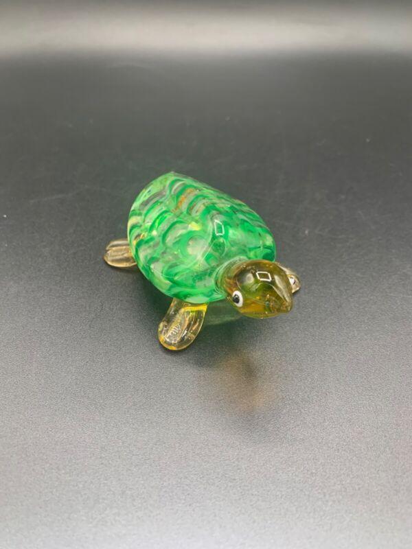 Vintage Handmade Art Glass Turtle
