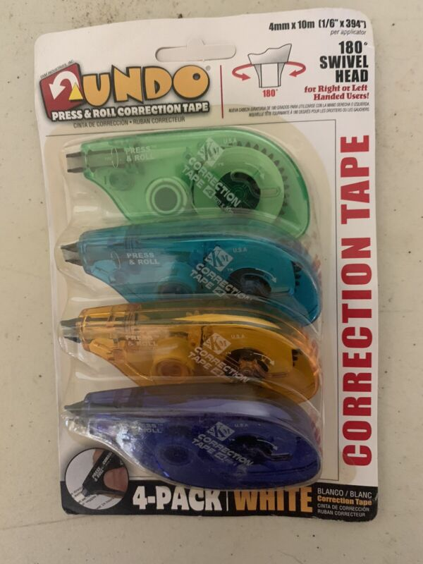 Undo white out correction tape 4 Pack New