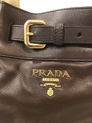 Prada Authentic Brown Soft Leather Hobo