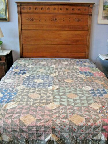 """Vintage """" Flying Geese""""  quilt top. Pink,blue and green. Partially hand sewn 89"""""""