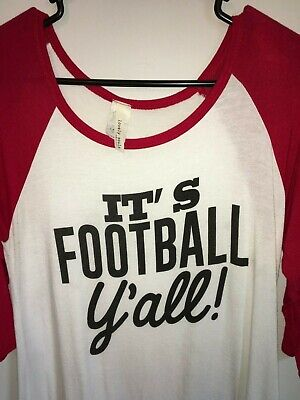 LOVELY SOULS FOOTBALL LOGO TEE T SHIRT WOMENS SZ MED WHITE RED RAGLAN SLEEVES