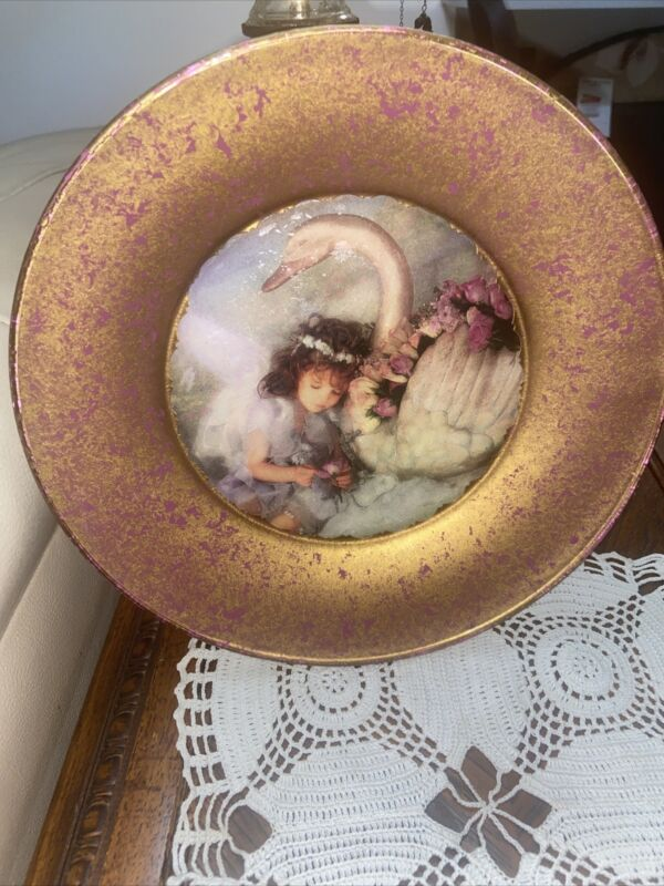 Decorative Glass Plate Of Young Girl With Swan