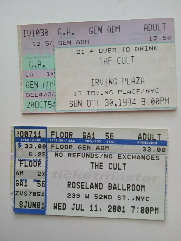 The Cult NY Concert Ticket Stubs