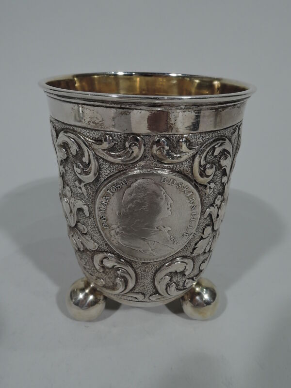 Antique Beaker  Baroque Style Cup w/ Coins Medallions   German 830 Silver