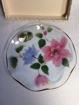 Vtg Chance Glass By Pilkington Hand Painted Flowers Dish Made In England