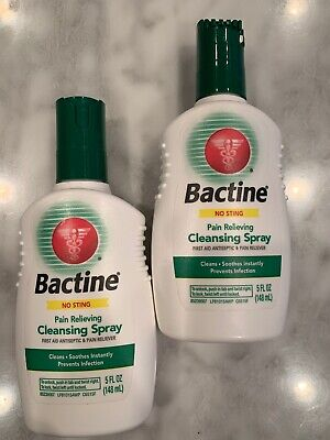 BACTINE First Aid Pain Relieving CLEANSING SPRAY 2X Bottles 5oz antiseptic 3/21 Pain Relieving Antiseptic
