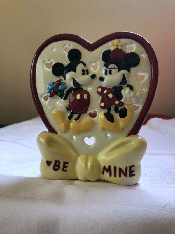 "Vintage Disney Mickey & Minnie ""BE MINE"" Votive Candle Holder"