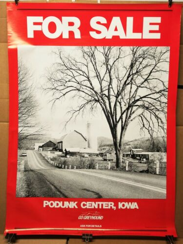 Rare GREYHOUND BUS TRAVEL POSTER for sale PODUNK CENTER, IOWA 1978 rural farms