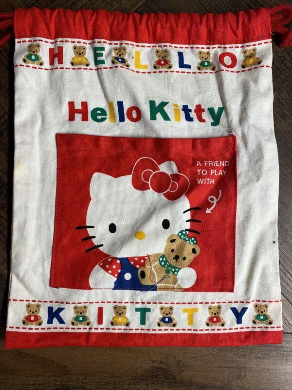Vintage Sanrio 1991 Hello Kitty Small Drawstring Surprise Bag Teddy Bears
