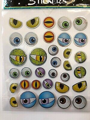 Halloween Eye Stickers ( 1 sheet ( 34 stickers ) Spooky eyes eye balls Halloween crafts teacher)
