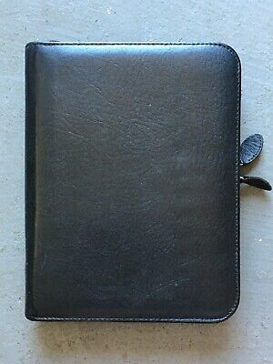 Franklin Covey Planner Classic Black Leather Binder Full Zip 8x10 7 Rings