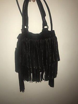Zara Hobo Black Suede Bucket Bag With Fringes