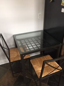 IKEA Glass Top Table and 2 Chairs