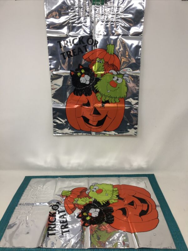 2 Vintage Halloween Plastic  Trick Or Treat Bags TROLL BOOKS GIVEAWAY 1985 NOS