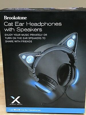 Brookstone Blue Cat Ear Headphones  With Speakers New
