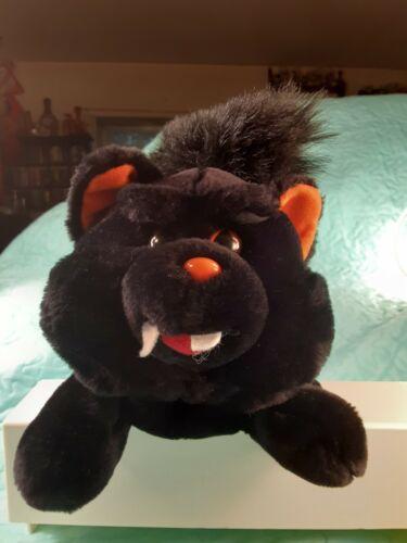 Rare VAMPIRE BLACK CAT Halloween Animated Plush HEAD SPINS Creepy Cat Noises