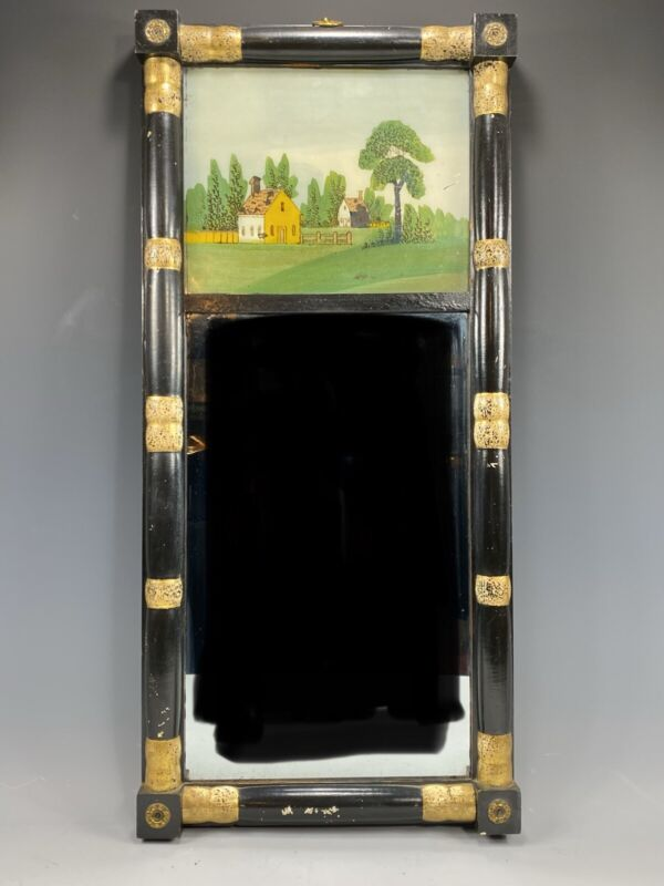 Federal mirror gold And Black hand painted circa 1830 split Mirror House Scene