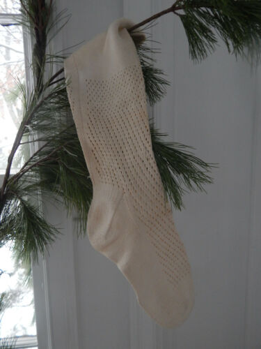 Antique Nineteenth Century Victorian Cream Stockings Socks ID