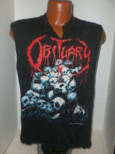 Vtg 1991 Orig OBITUARY Cause of Death Blue Grape Merch Sleeveless T-Shirt Sz L