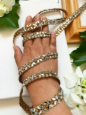Gold Trim Matt (3 Yard Latest Indian Matt Gold Mirror Zari  Kinari Sari Dupatta Lace Border Trim)