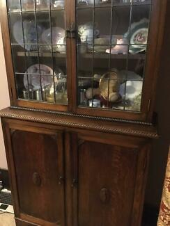 Antique English Oak China Cabinet. Two Piece. In Excellent Condit