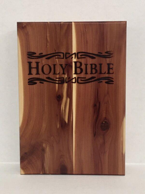 Holy Bible Cedar Box Glazed Wood Storage Case