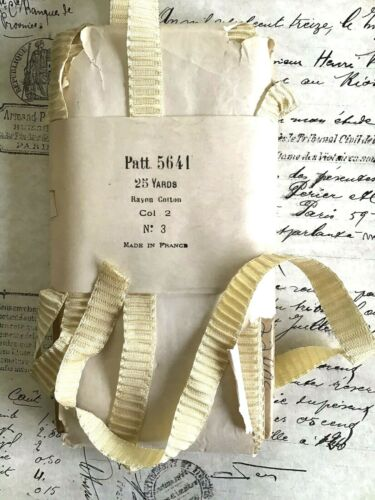 1 yd Vintage Antique French Rayon/Cotton Pale Yellow Rouched Pleated Ribbon