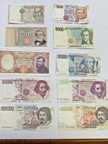 10 pre Euro Italian LIRE Banknotes Notes ITALY 50,000 10,000 5000 1000   $39 NOW