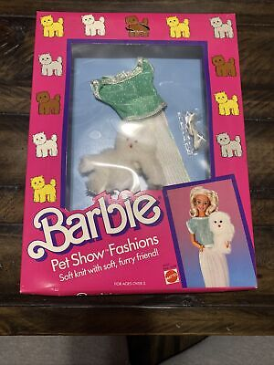Barbie Pet Show Fashions Vintage #3657 Green Top White Pants Dog 1986 NIP