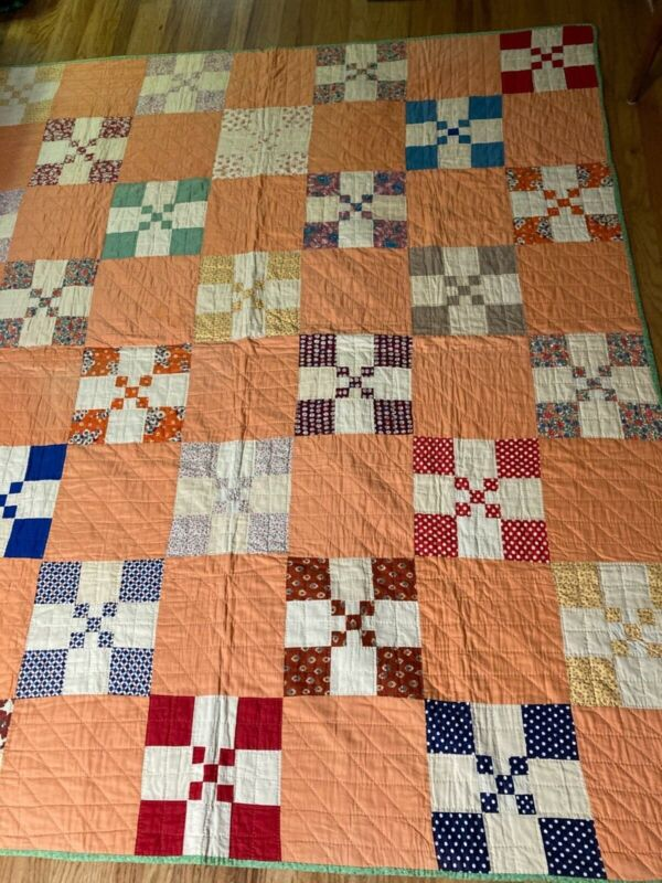 ANTIQUE FARMHOUSE QUILT, SPRING COLORS, UNUSED, UNWASHED, CLEAN AND FRESH