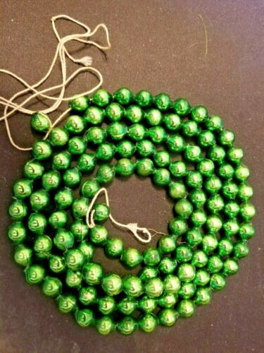 "VINTAGE LARGE GREEN MERCURY GLASS BEADS CHRISTMAS TREE GARLAND - 60"" LONG"