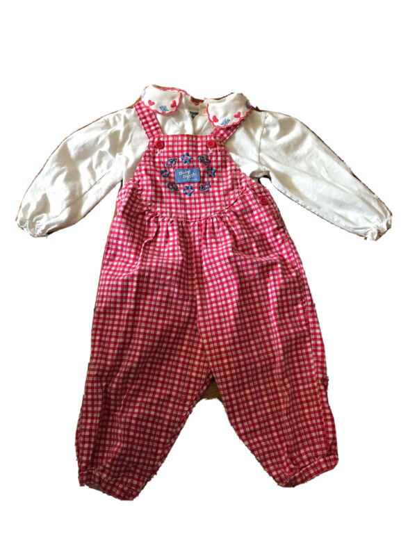 Vintage Check and Floral Embroidered Oshkosh B'Gosh Vestbak Overalls 24 Month