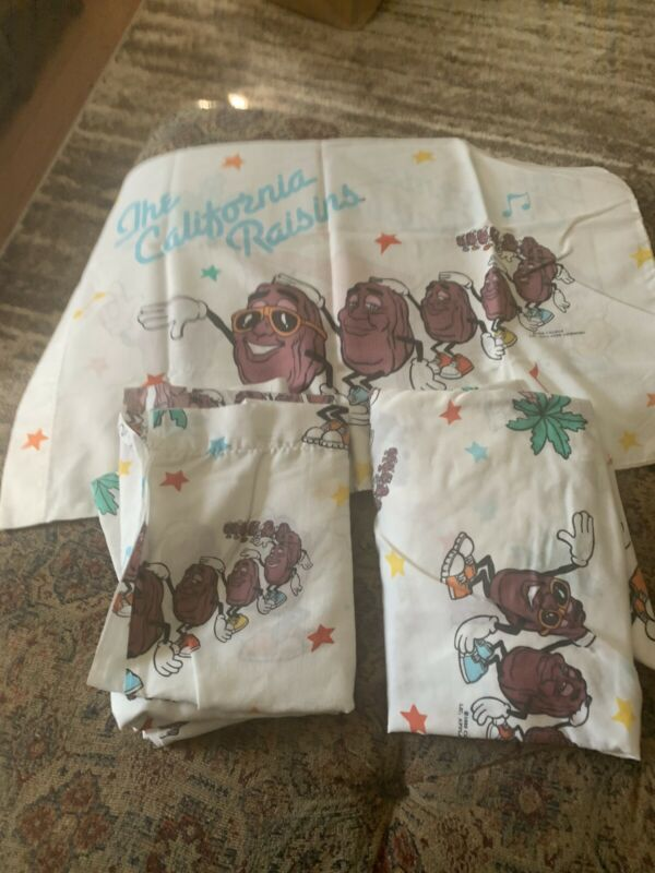 "Sheets Set - Twin size 3 piece  Promo ""The California Raisins""  VTGE 1988"