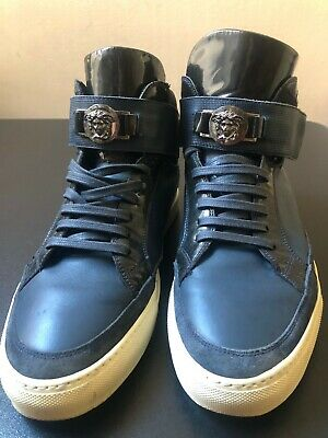 Versace Navy High-Top Medusa Head Straps Sneakers Size 9(42)