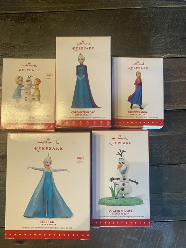 "NIB, Hallmark Disney ""Frozen"" Five Piece Set Ornaments"
