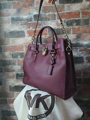 MICHAEL KORS HAMILTON GENUINE LARGE BURGUNDY MERLOT SAFFIANO LEATHER TOTE BAG