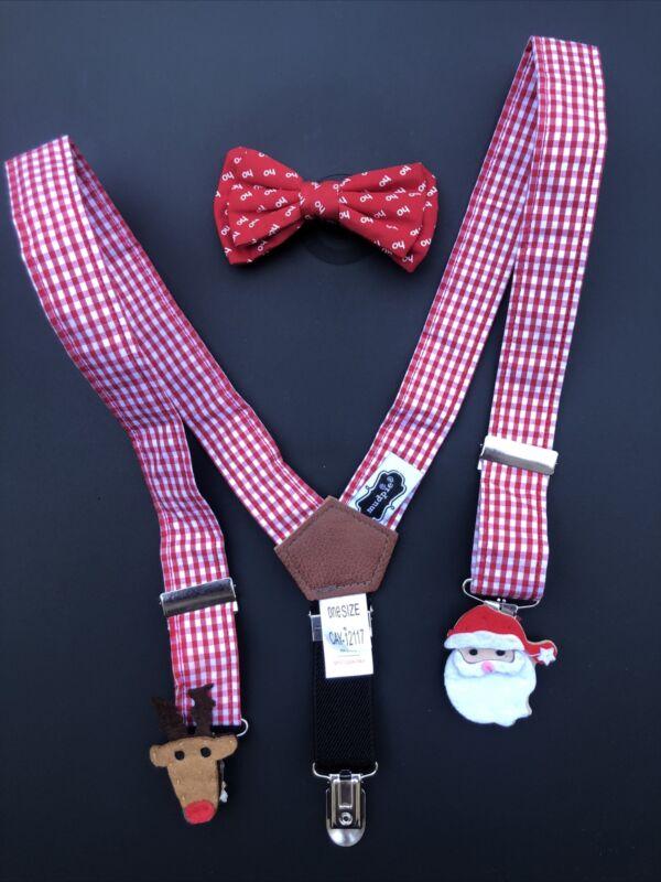 Mud Pie Baby Boy Christmas Suspenders Santa Red Bow Tie Set Holiday Toddler