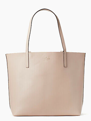 NWT Kate Spade Mya Reversible Leather Tote + Pouch Light Beige / Gold WKRU5543 ()