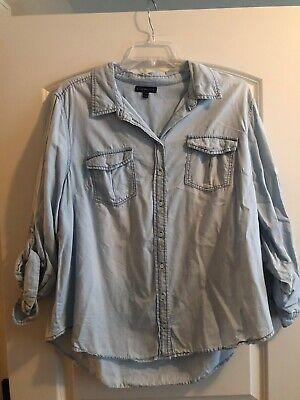 Womens Plus Size Lane Bryant Chambray Shirt 18/20 Lane Bryant Plus Size