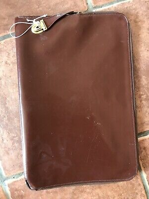Vintage Brown Leather Zipped Document Wallet VGC