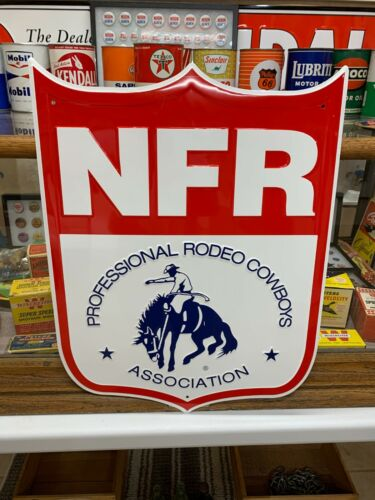 """NFR PROFESSIONAL RODEO"" METAL SIGN, (21""x 16"" EXCELLENT (UNUSED) CONDITION"
