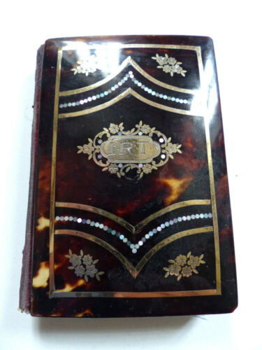 SUPERB ANTIQUE 19th CENTURY FAUX TORTOISE SHELL CARD CASE / NOTEBOOK HOLDER
