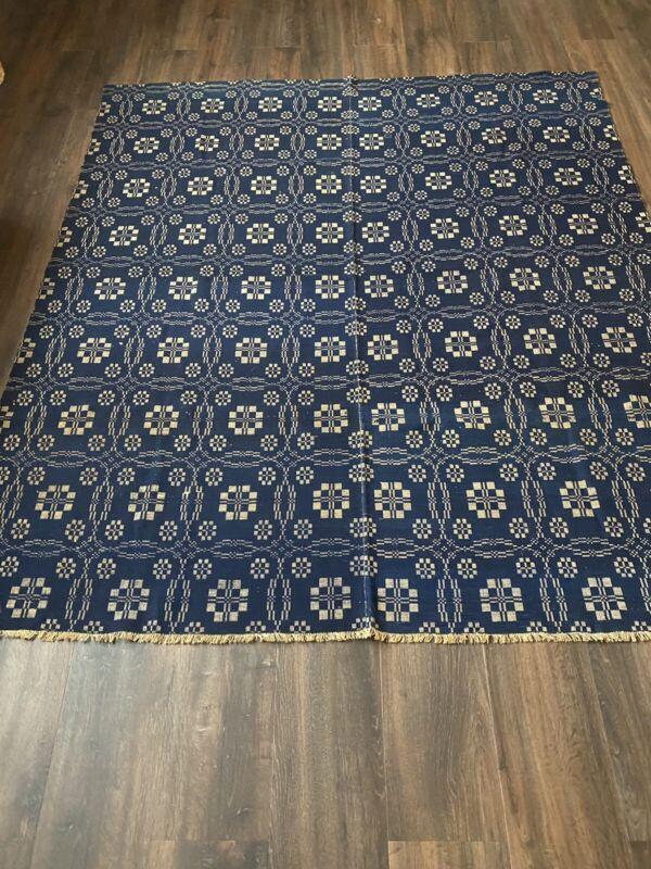 Antique Primitive Coverlet With Provenance To Tylerville, Jefferson, NY