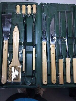 BBQ Barbeque Tool Set Utensils Wood Handles Plastic Case 12 Pieces NEW