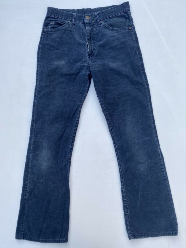 Vintage LEVIS 517 Boot Cut Corduroy Flare Pants USA Blue Talon 42 Jeans 30 X 30