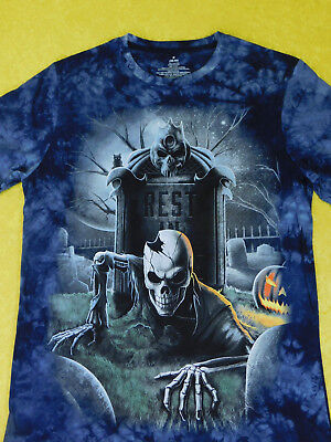 Blue Tie Dye Rest In Peace Creeping Skeleton Halloween T-Shirt - Halloween Blues