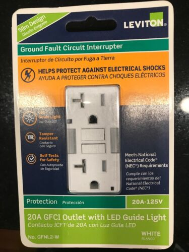 Leviton GFNL2-W SelfTest SmartlockPro Slim GFCI No-Tamper-Resistant w/LED Light